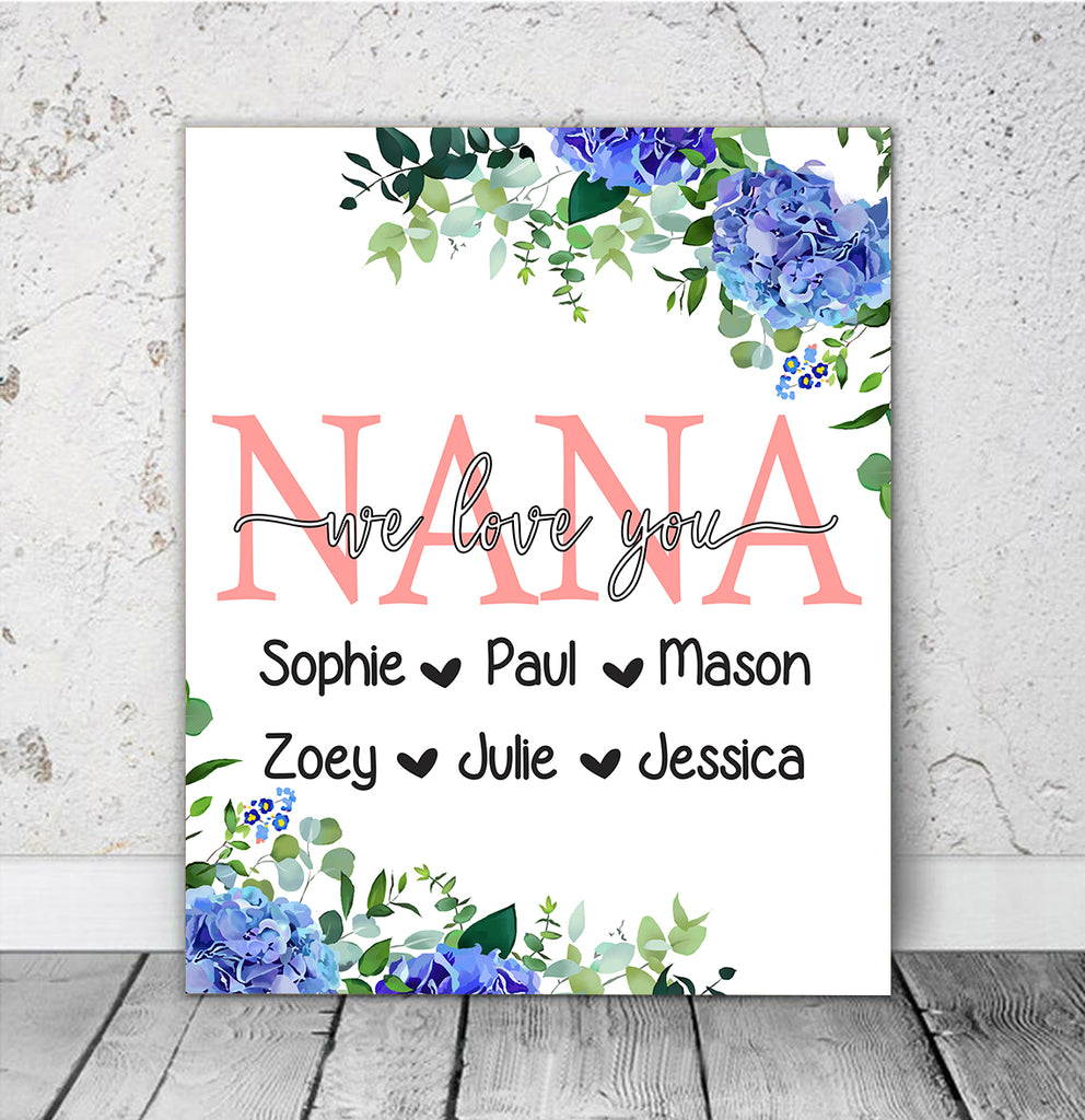 Personalized Nickname & Kids' Names Blue Floral Canvas Wall Art