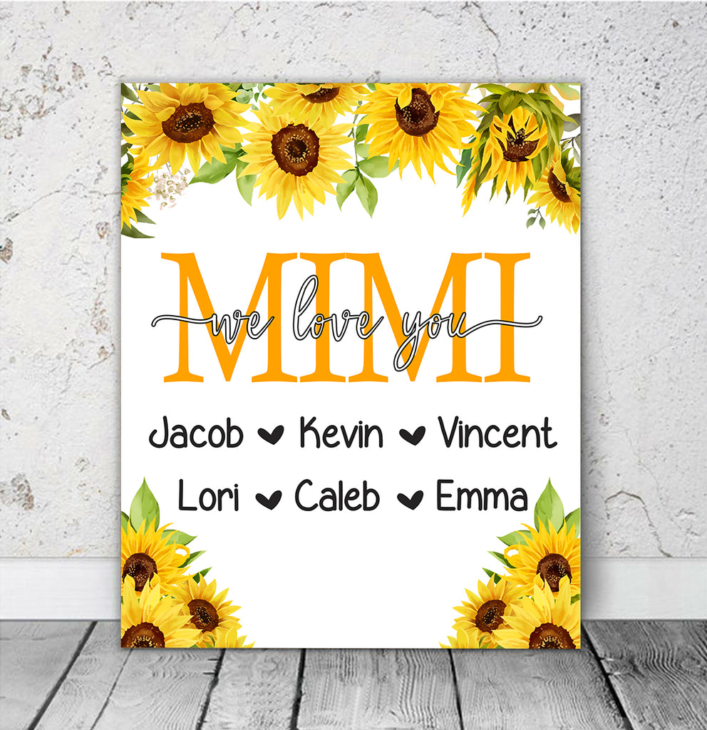 Personalized Nickname & Kids' Names Sunflower Canvas Wall Art