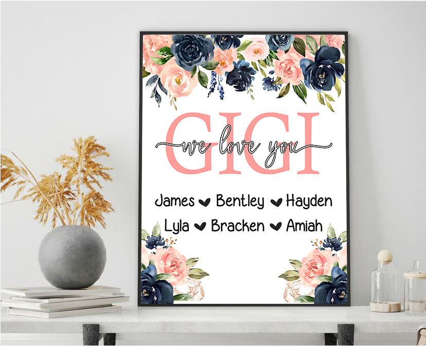 Personalized Nickname & Kids' Names Canvas Wall Art