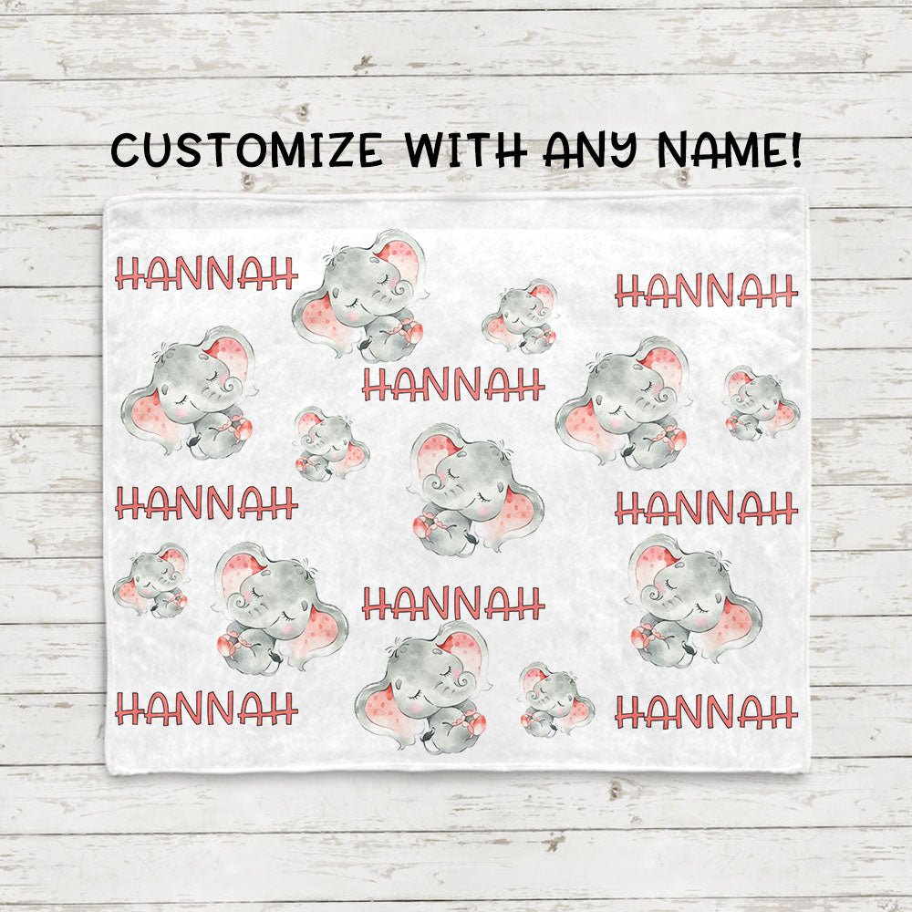 Personalized Name Sleeping Elephant Fleece Blankets