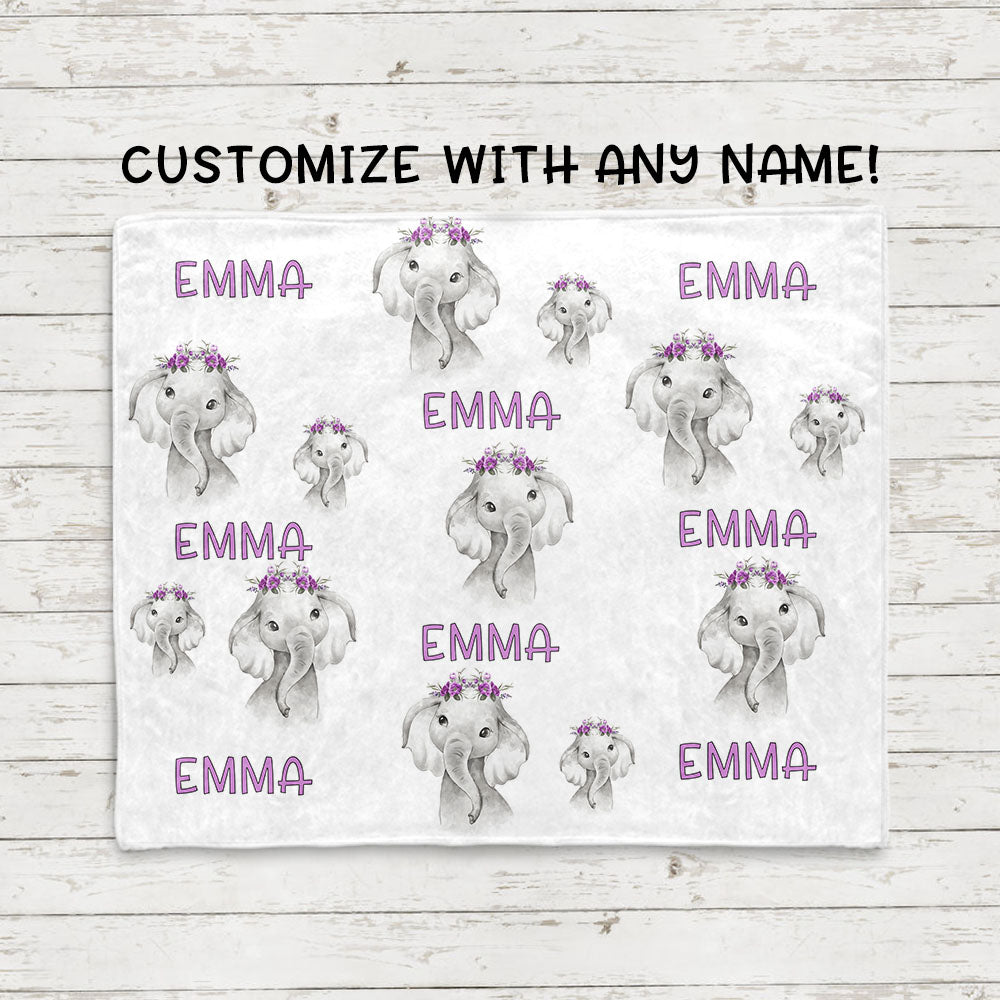 Personalized Name Purple Floral Elephant Fleece Blankets - BUY 2 SAVE 10%