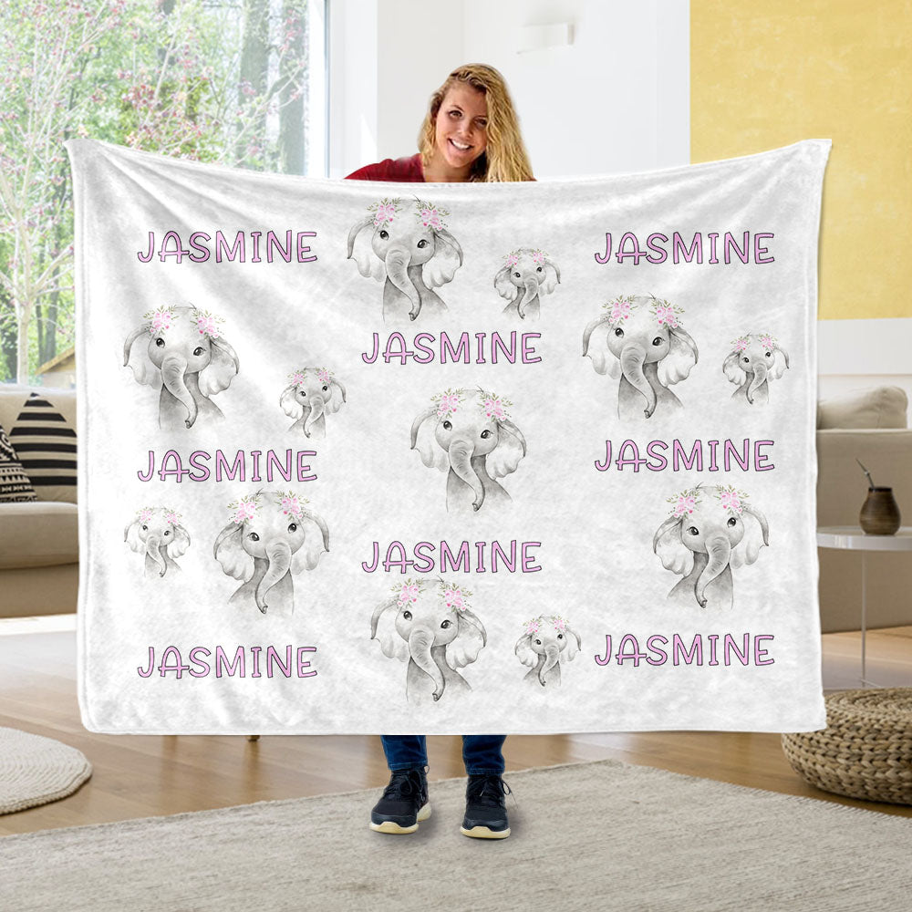 Custom Name Floral Baby Elephant Fleece Blankets