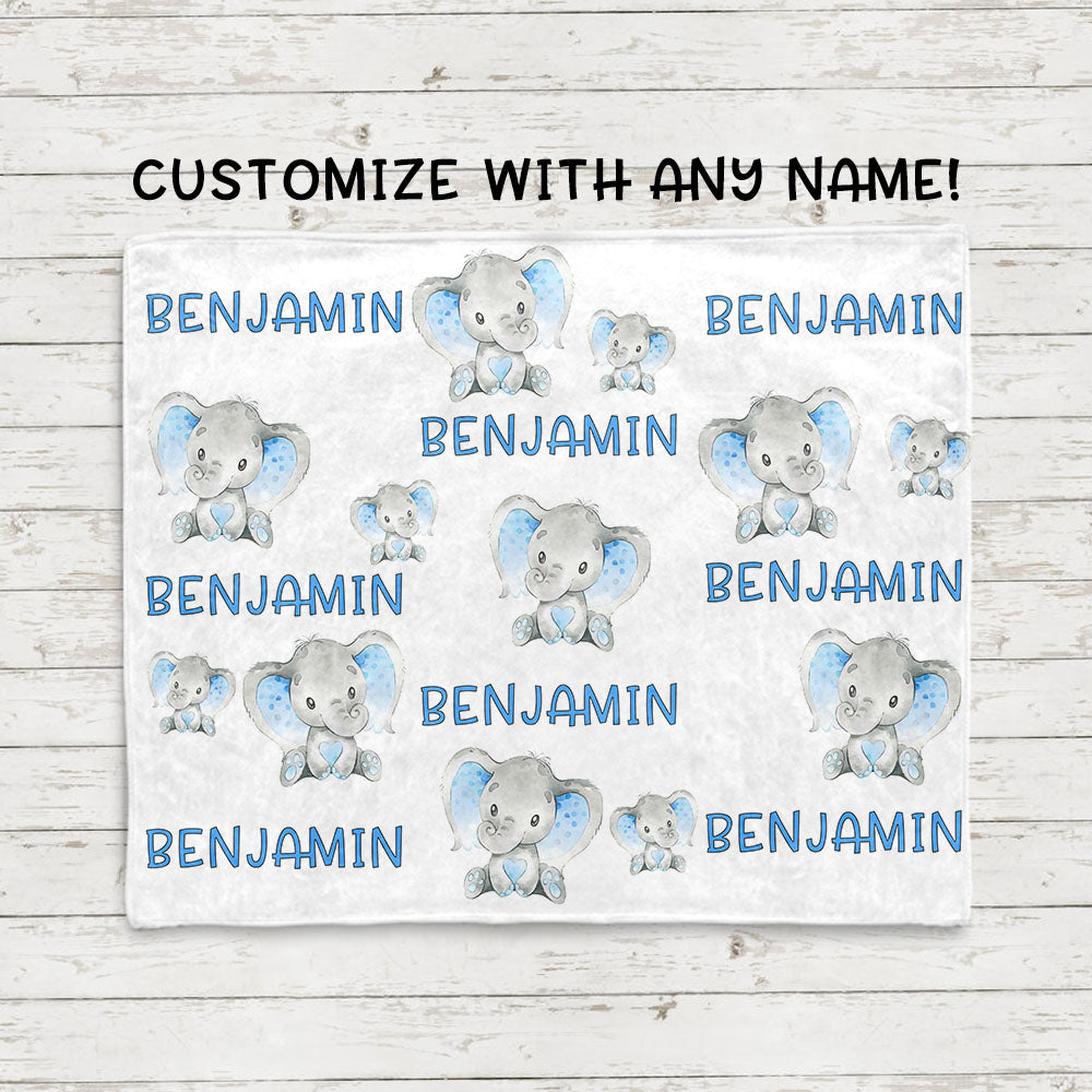 Personalized Name Baby Elephant Fleece Blankets - BUY 2 SAVE 10%