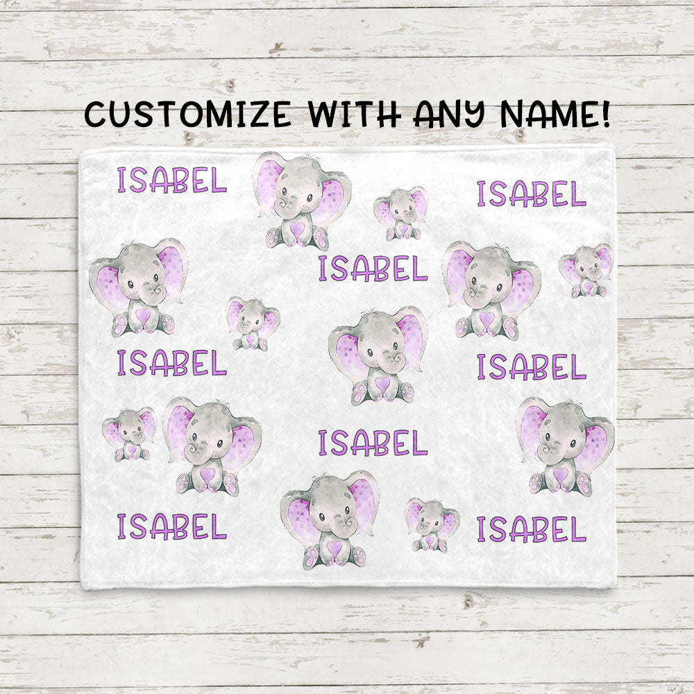 Personalized Name Purple Elephant Fleece Blankets