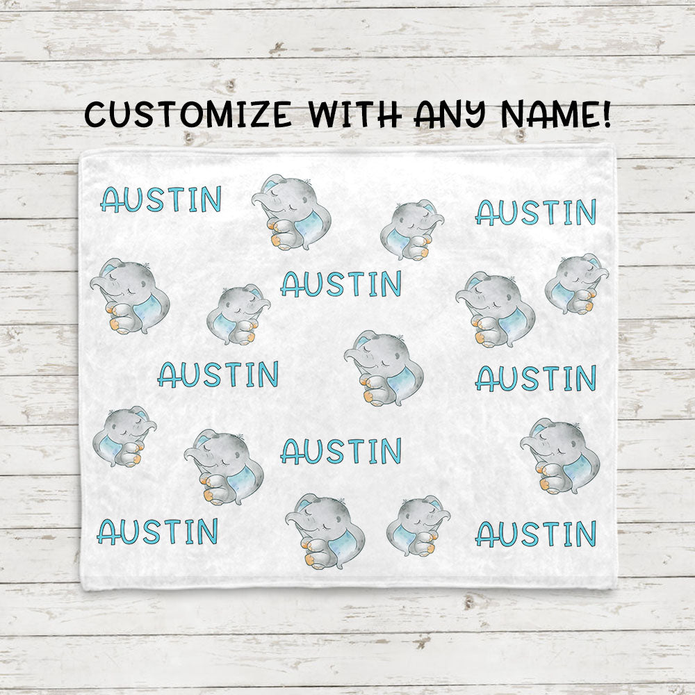 Personalized Name Sweet Dream Elephant Fleece Blankets