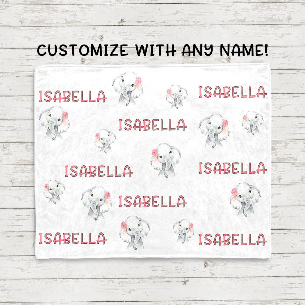 Personalized Name Pink Floral Elephant Fleece Blankets