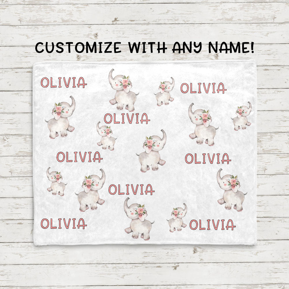 Personalized Name Little Elephant Fleece Blankets