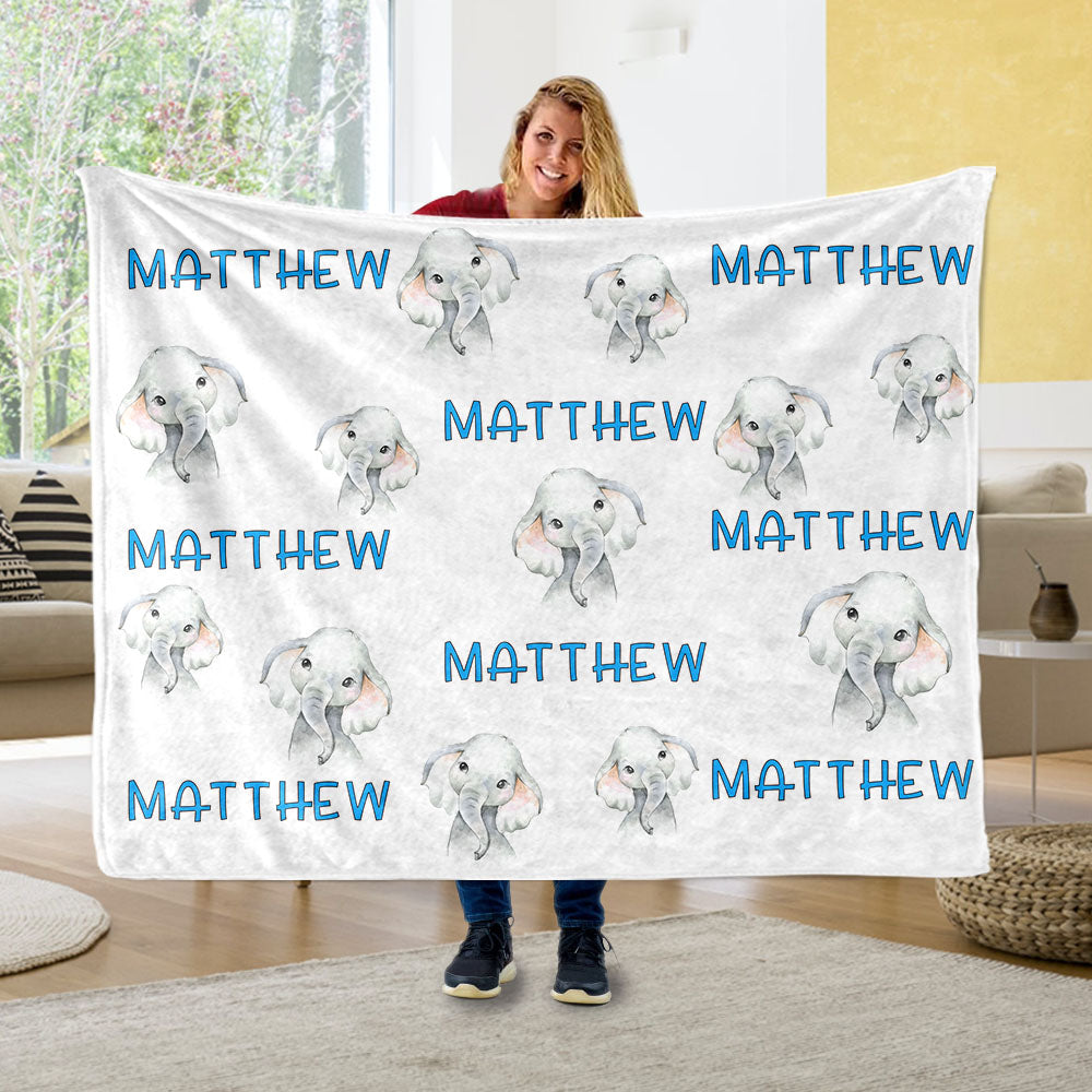 Personalized Name Baby Elephant Fleece Blankets