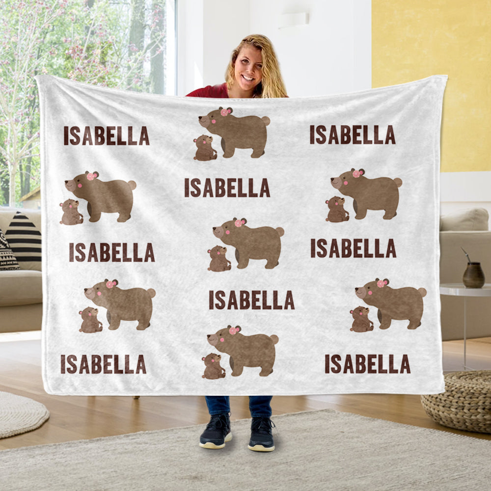 Personalized Name Mama Bear Baby Cub Fleece Blankets - BUY 2 SAVE 10%