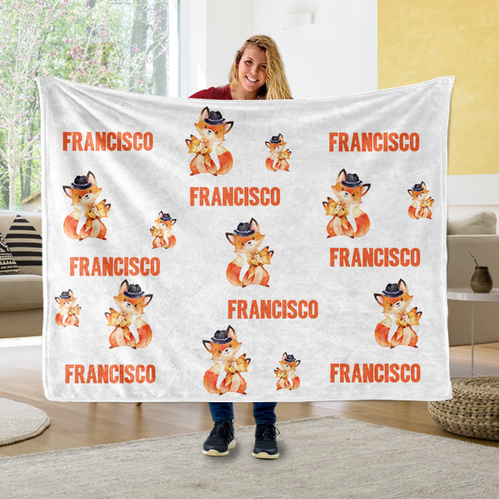 Personalized Name Fox Cozy Plush Fleece Blankets - BUY 2 SAVE 10%