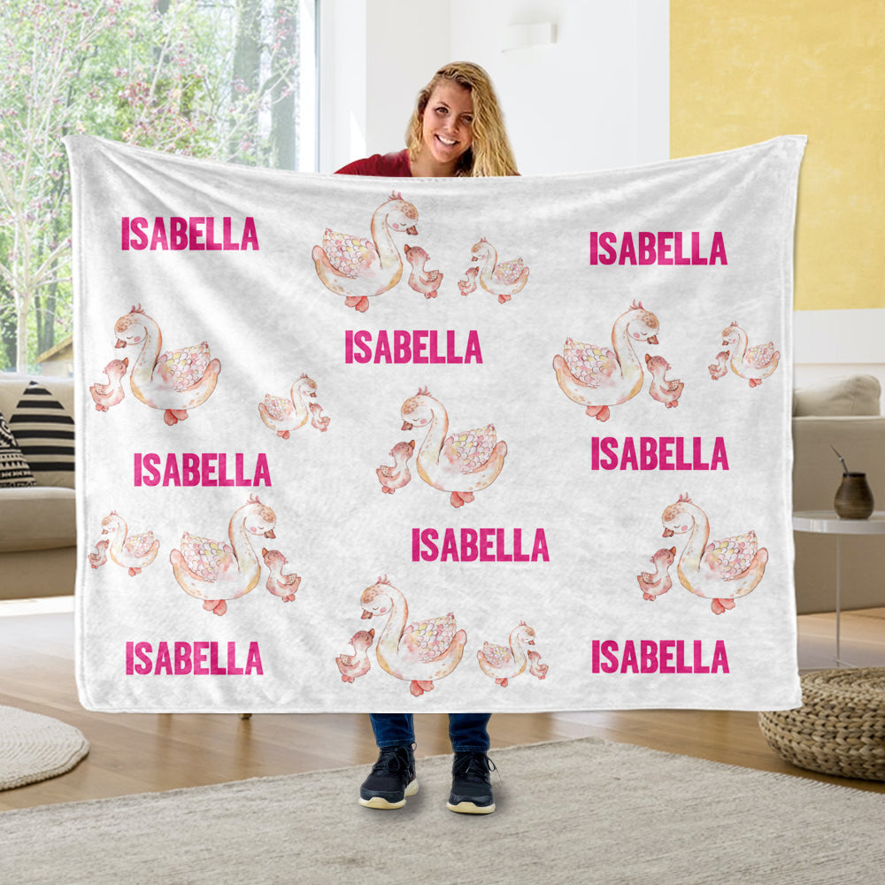Personalized Name Swan Fleece Blankets - BUY 2 SAVE 10%