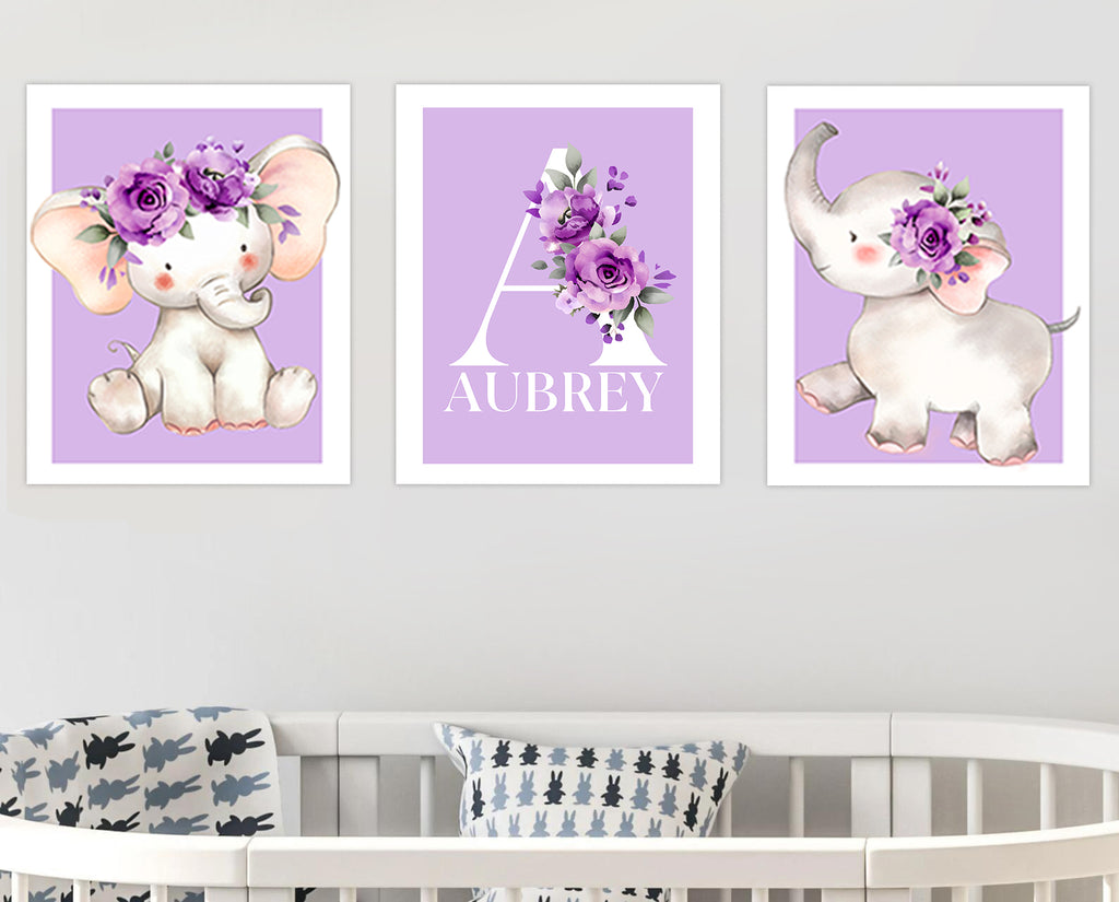 Personalized Initial & Name Purple Elephant Canvas Wall Art - BUY 2 SAVE 10%