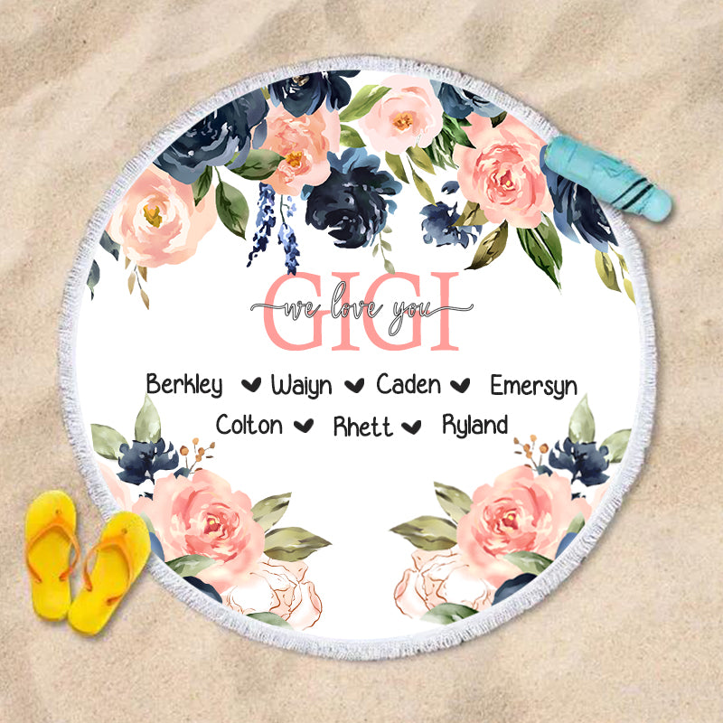 Navy & Pink Watercolor Floral Custom Round Beach Towel with Title & Kids' Names