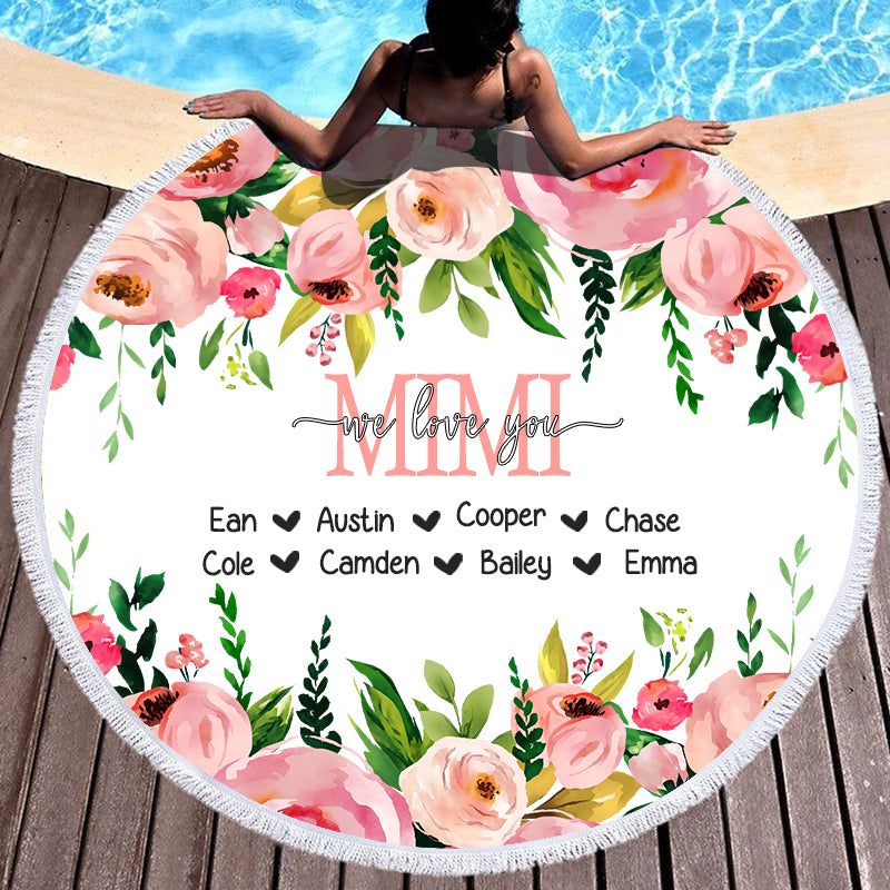 Pink Floral Custom Round Beach Towel with Title & Kids' Names