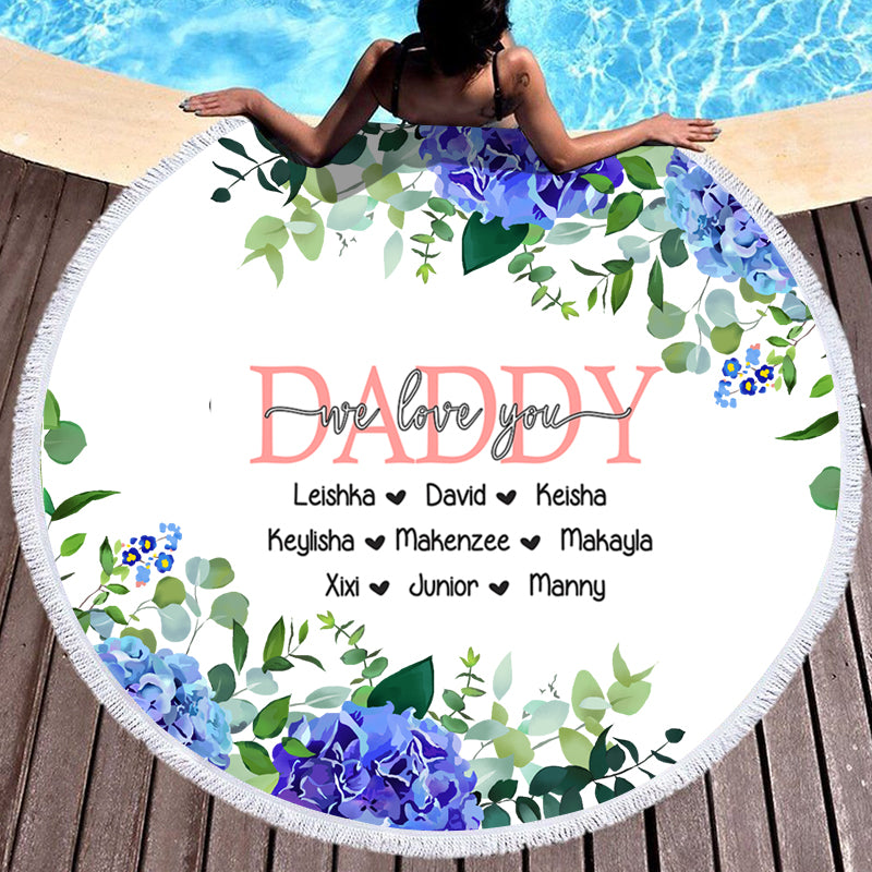 Blue Floral Custom Round Beach Towel with Title & Kids' Names