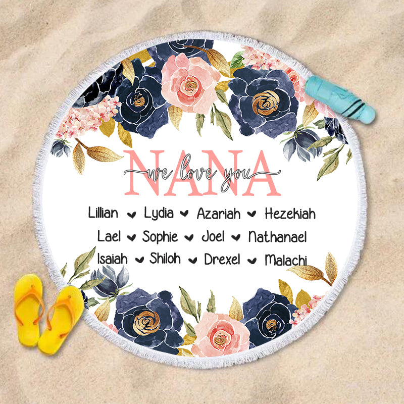 Navy & Pink Floral Custom Round Beach Towel with Title & Kids' Names