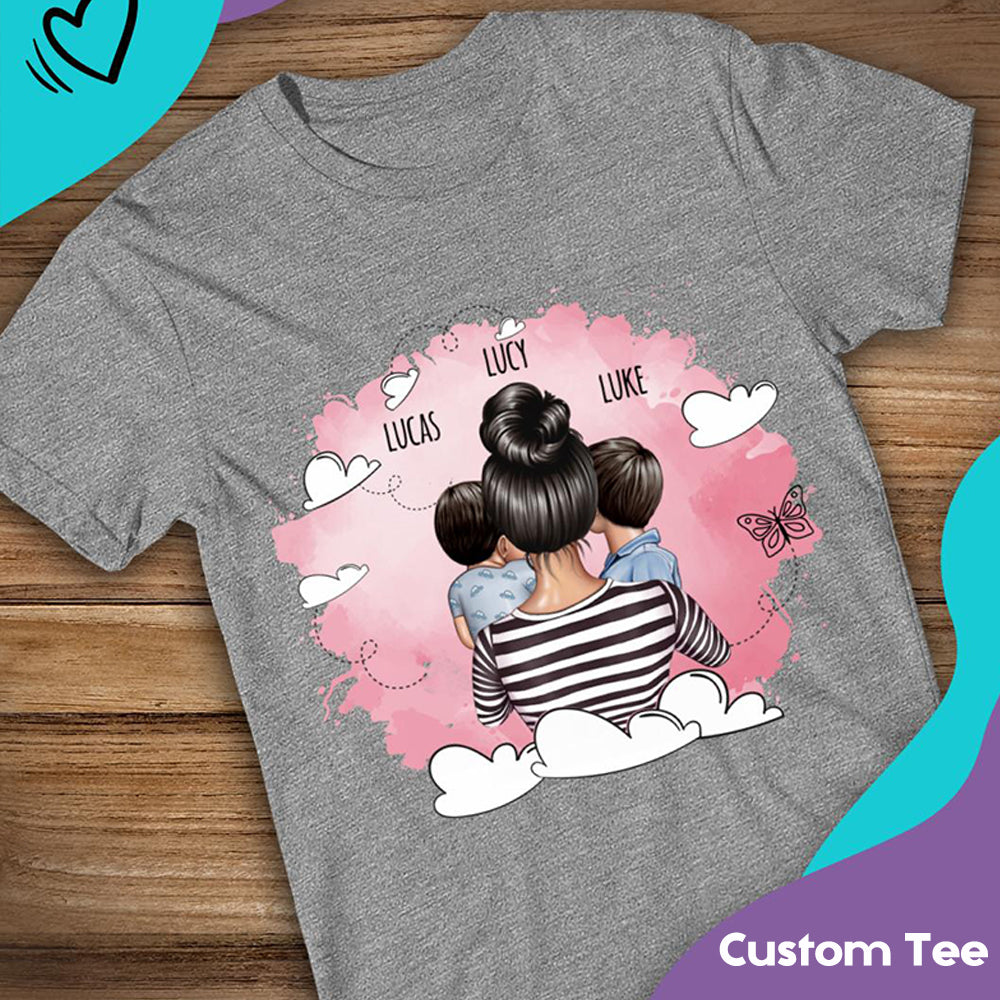 Watercolor Mom T-Shirt With Her Children -- Unisex T-Shirt