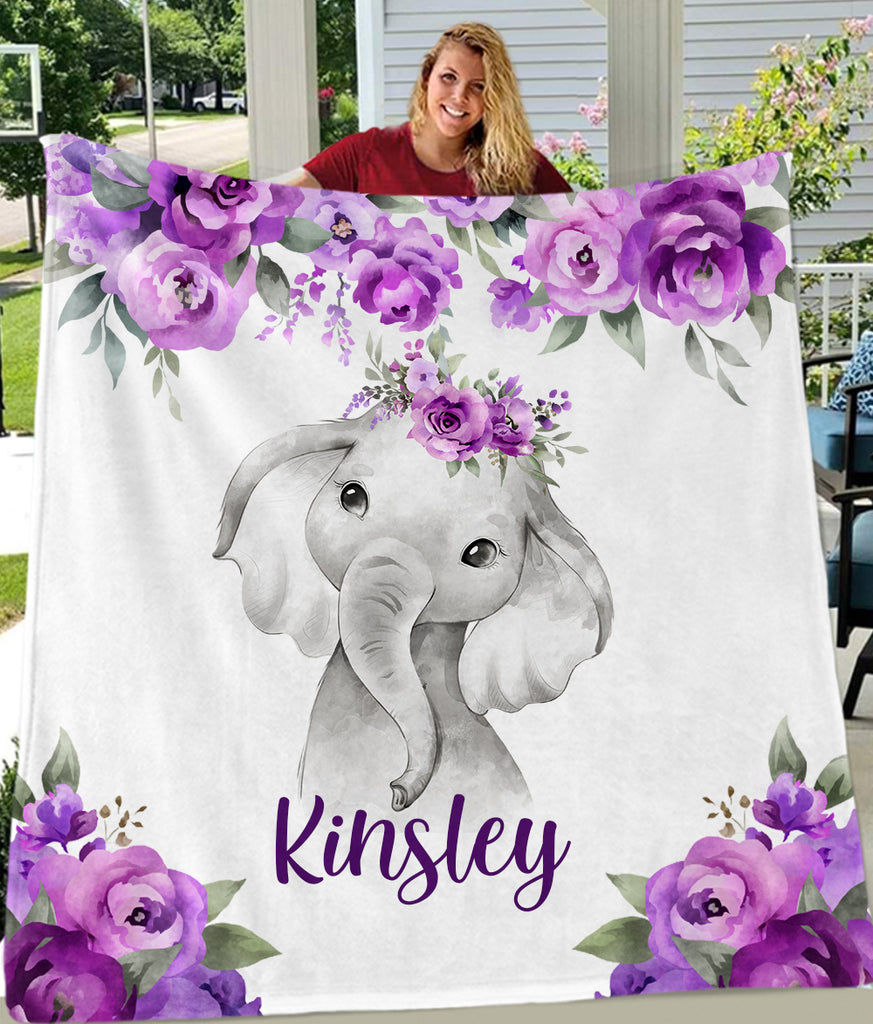 Custom Name Purple Floral Elephant Blankets - BUY 2 SAVE 10%