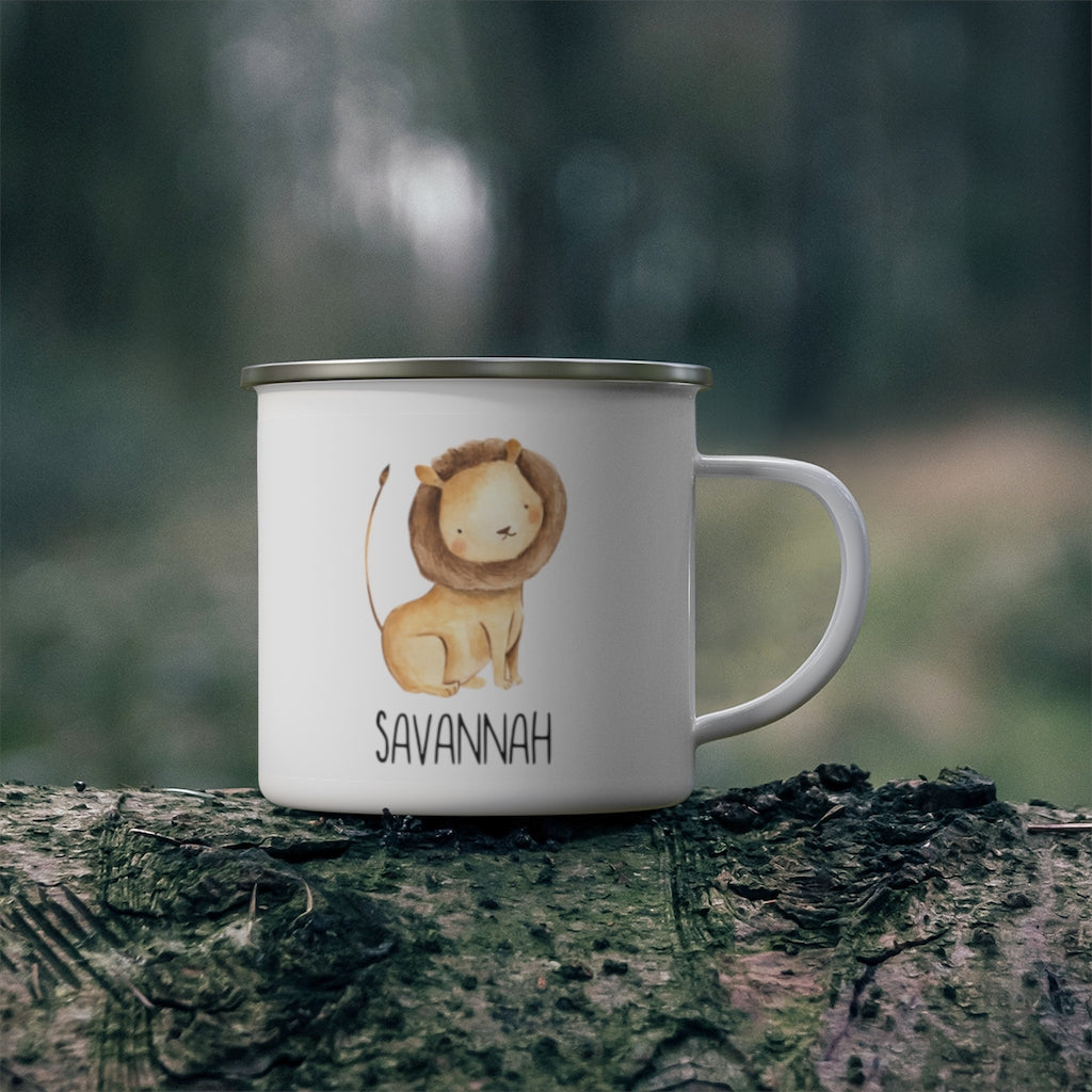 Personalised Name Animal Children's Enamel Campfire Mug IV - Made in USA