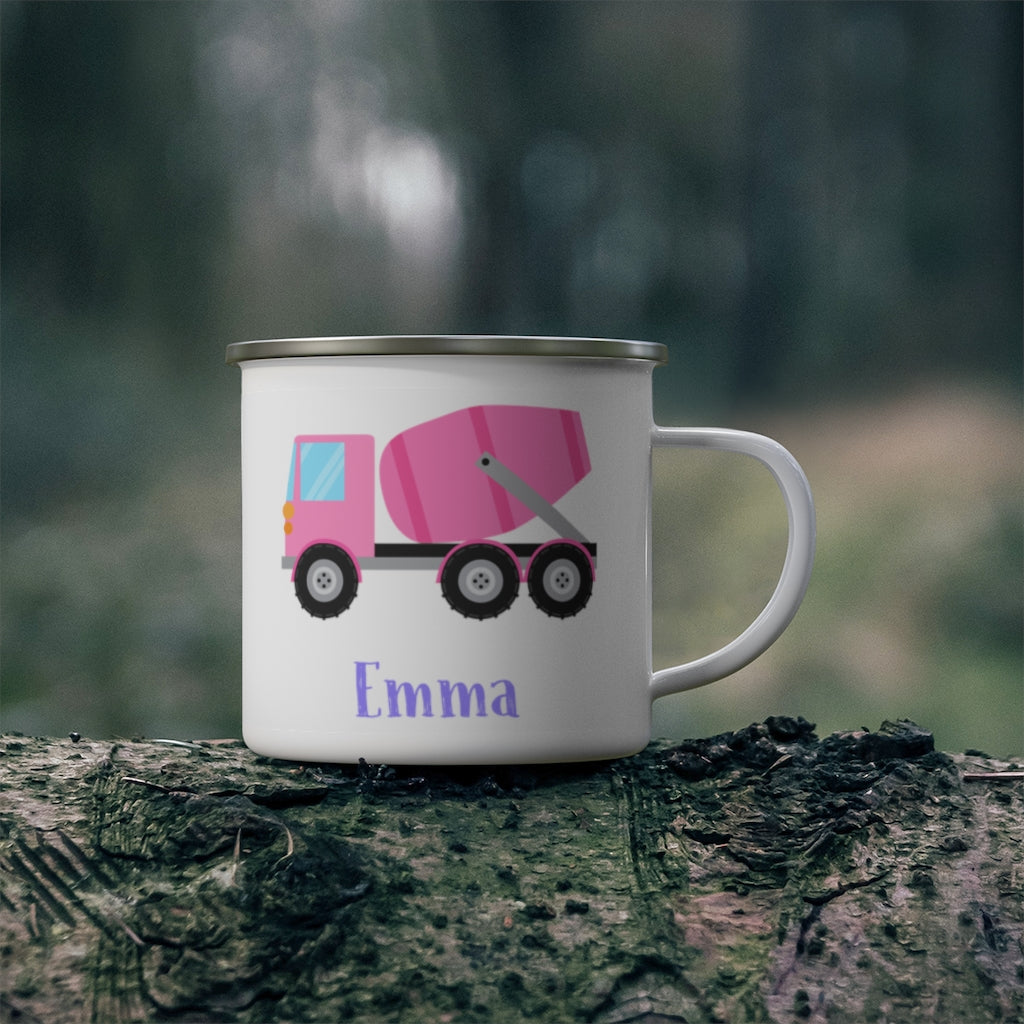 Custom Name Truck Children's Enamel Campfire Mug X