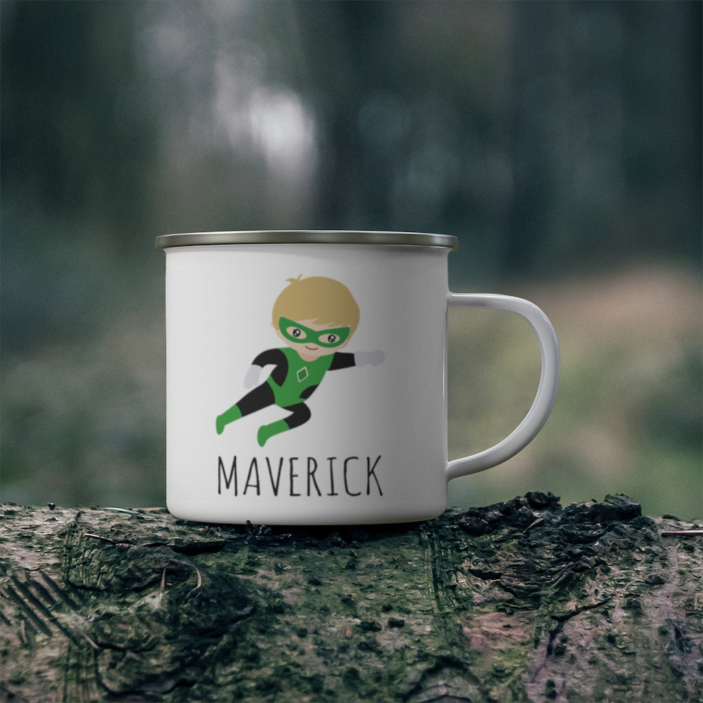 Personalized Name Hero Kid's Enamel Campfire Mug III-Made in USA