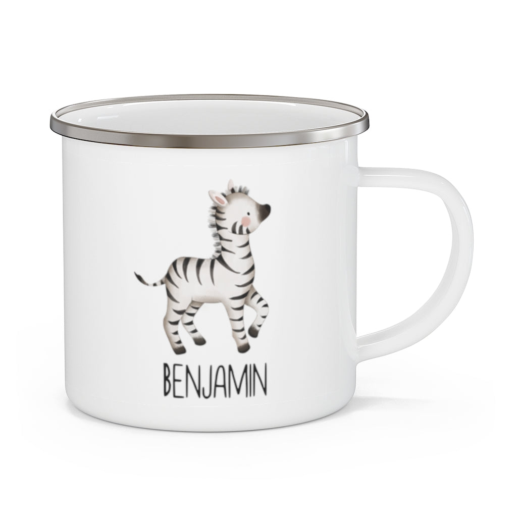 Personalised Name Animal Children's Enamel Campfire Mug V - Made in USA