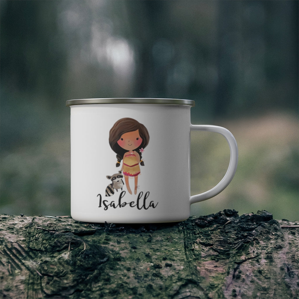 Personalized Name Princess Kid's Enamel Campfire Mug I-Made in USA