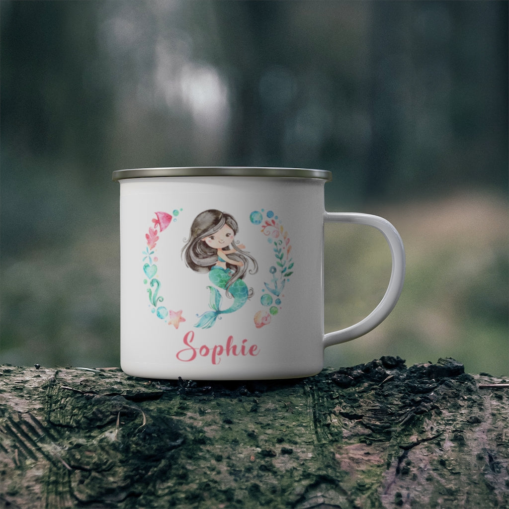 Custom Name Mermaid Enamel Campfire Mug II