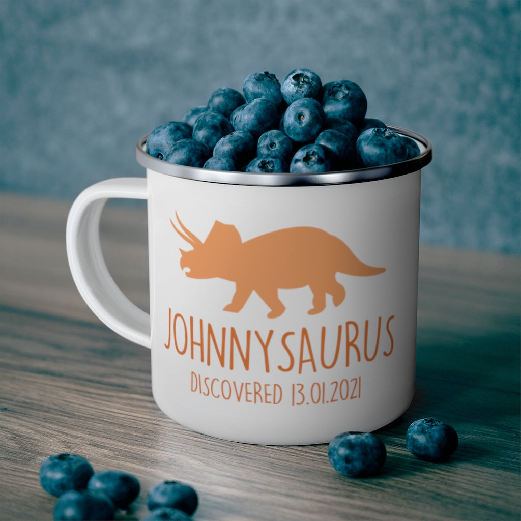 Personalized Name Dinosaur Kid's Enamel Campfire Mug I-Made in USA