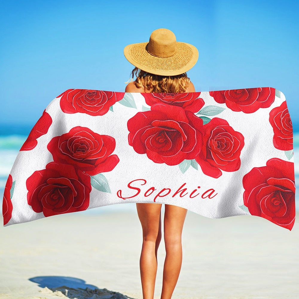Custom Name Rose And Leaves Beach Towel