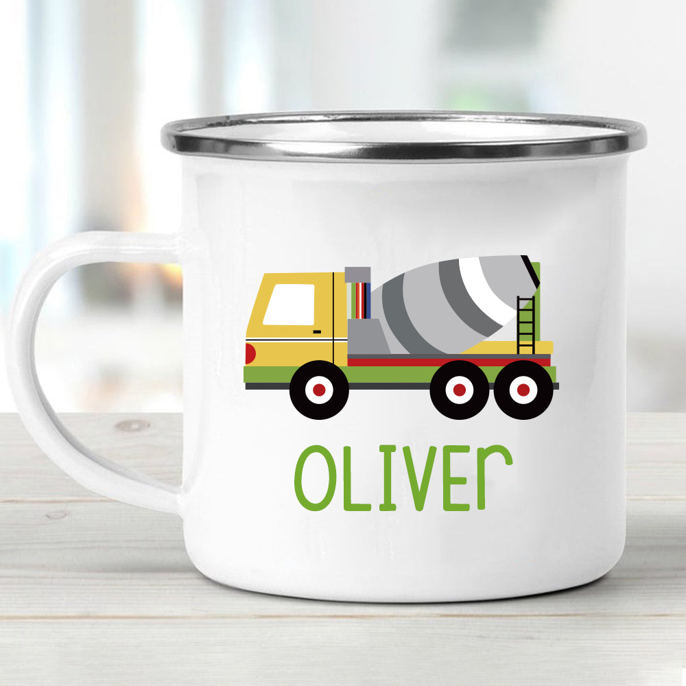 Custom Name Cement Truck Children's Enamel Campfire Mug