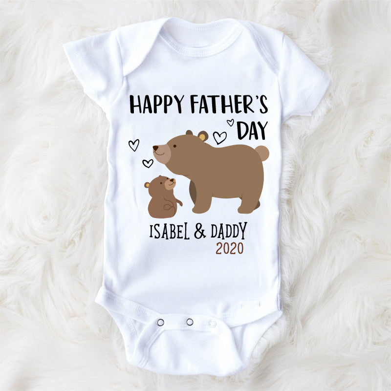 Personalized Bear Father's Day Fleece Blankets / Baby Onesies / Daddy Shirts