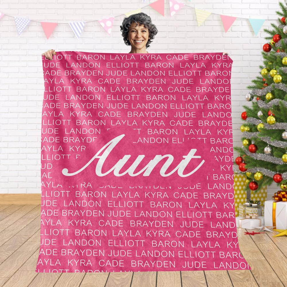 Custom Cozy Plush Fleece Blanket with Nickname & Kids Names - BUY 2 SAVE 10%