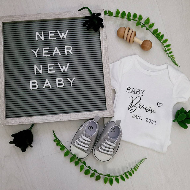 Personalized Name Announcement Onesie, Pregnancy Announcement Baby Onesie, Funny Second Baby Onesies, Baby Name Onesie