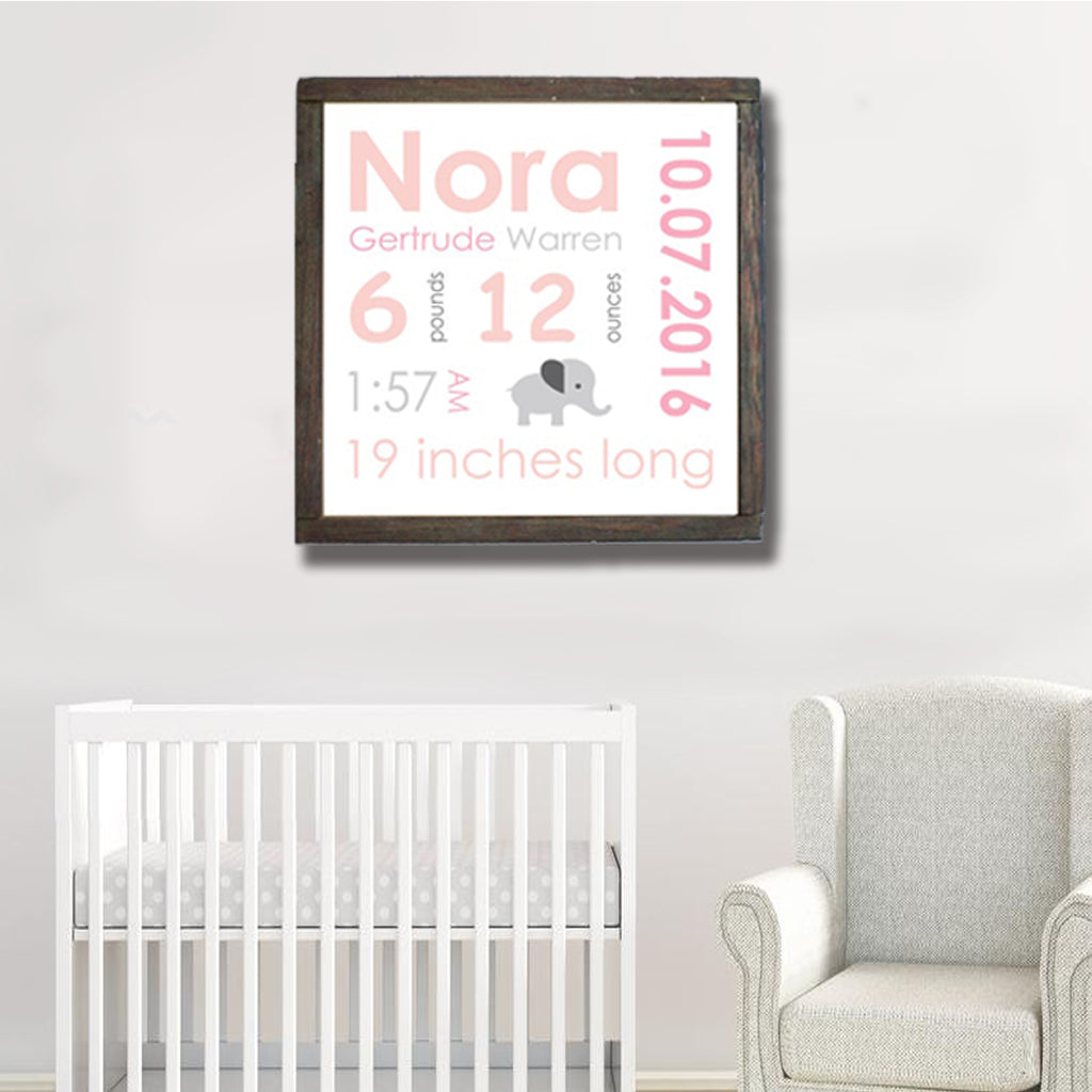 Personalized Baby Birth Canvas Print, Custom Birth Announcement Nursery Wall Art, New Baby Gift, Birth Stats, Baby Girl Stats