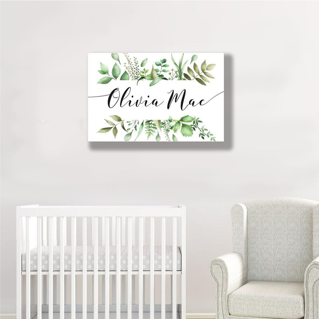 Personalized Eucalyptus Childrens Room Wall Decor, Custom Canvas Print, Modern Nursery Wall Art, Name Wall Art