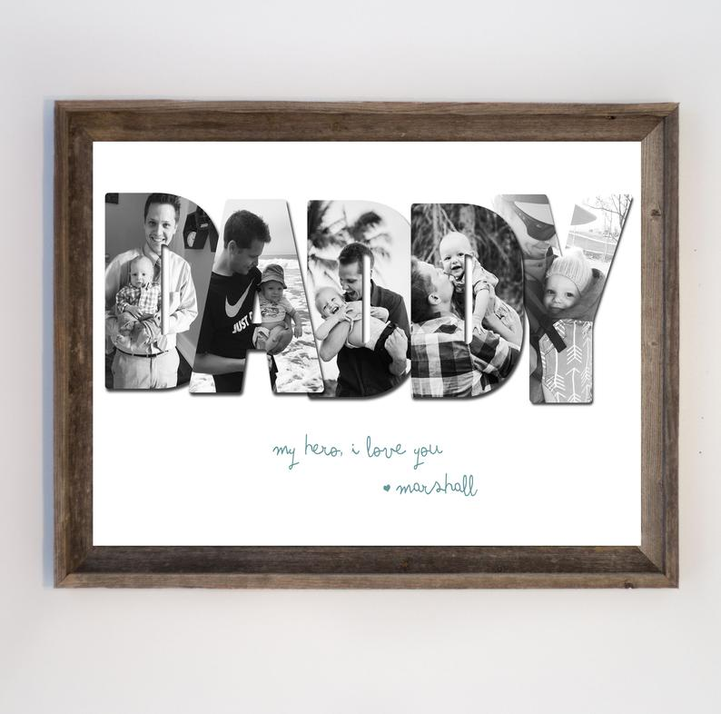 Customizable Father's Day Photo Print-Daddy Collage Wall Art