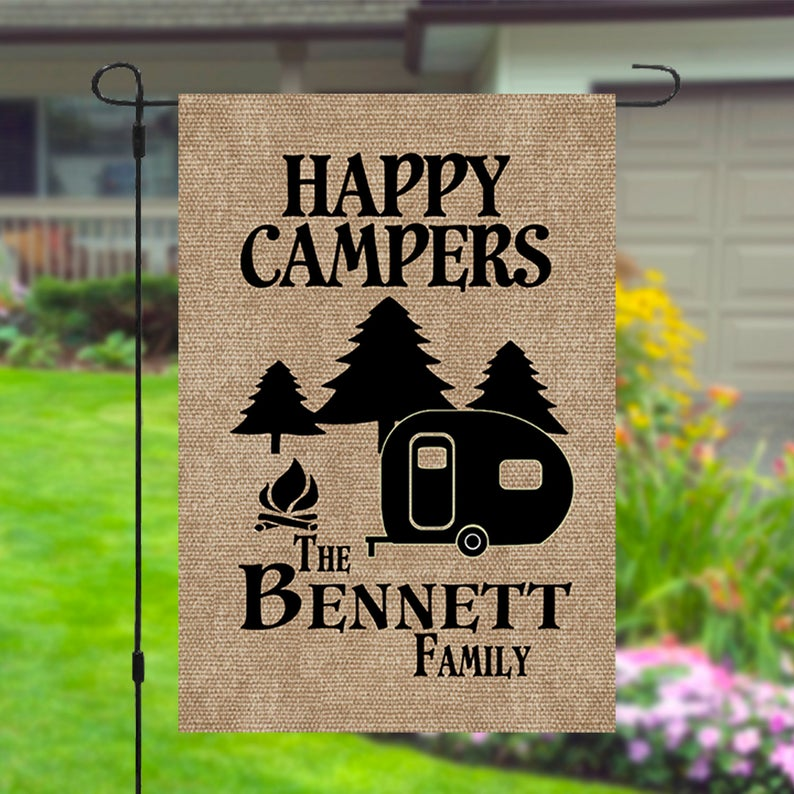 Happy Campers Personalized Custom Family Name Garden Banner Flag 12x18