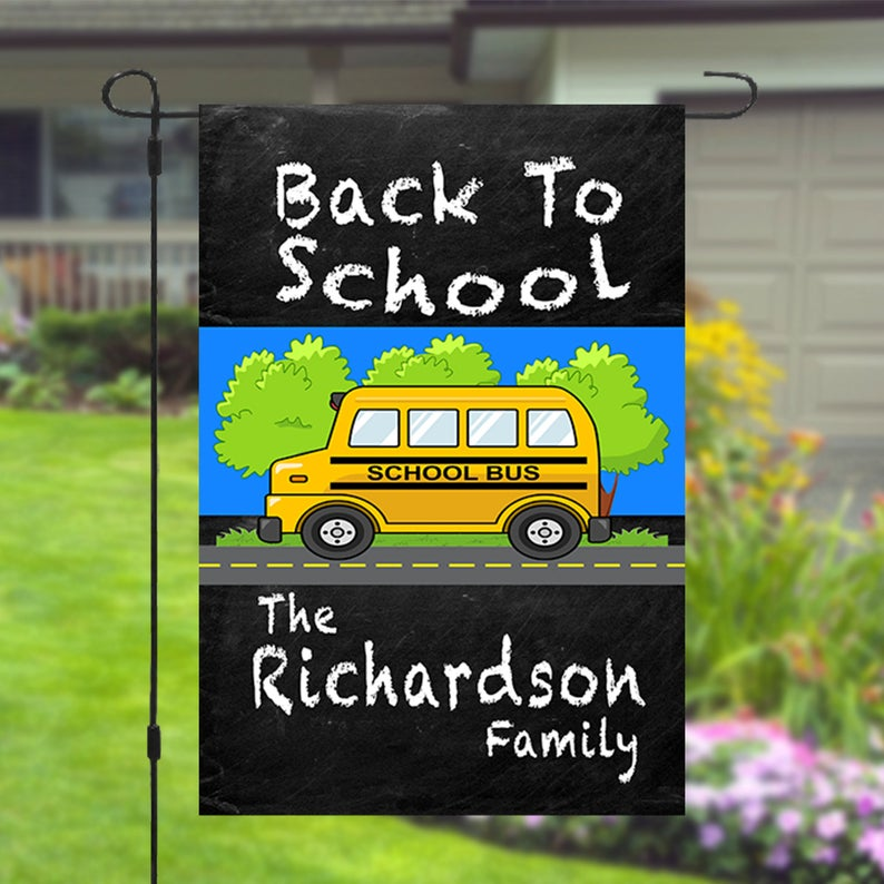 Back To School Personalized Custom Family Name Garden Banner Flag 12x18