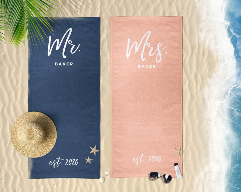 Set of 2 Mr. and Mrs. Beach Towels, Personalized Mr and Mrs Beach Towels, Personalized His and Hers Newlywed Gift, Personalized Wedding Gift, Coral and Navy Wedding