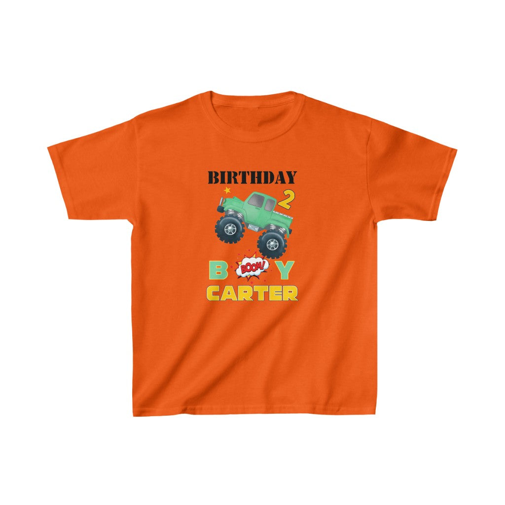 Custom Name Monster Truck Kids Heavy Cotton Birthday Tee IV