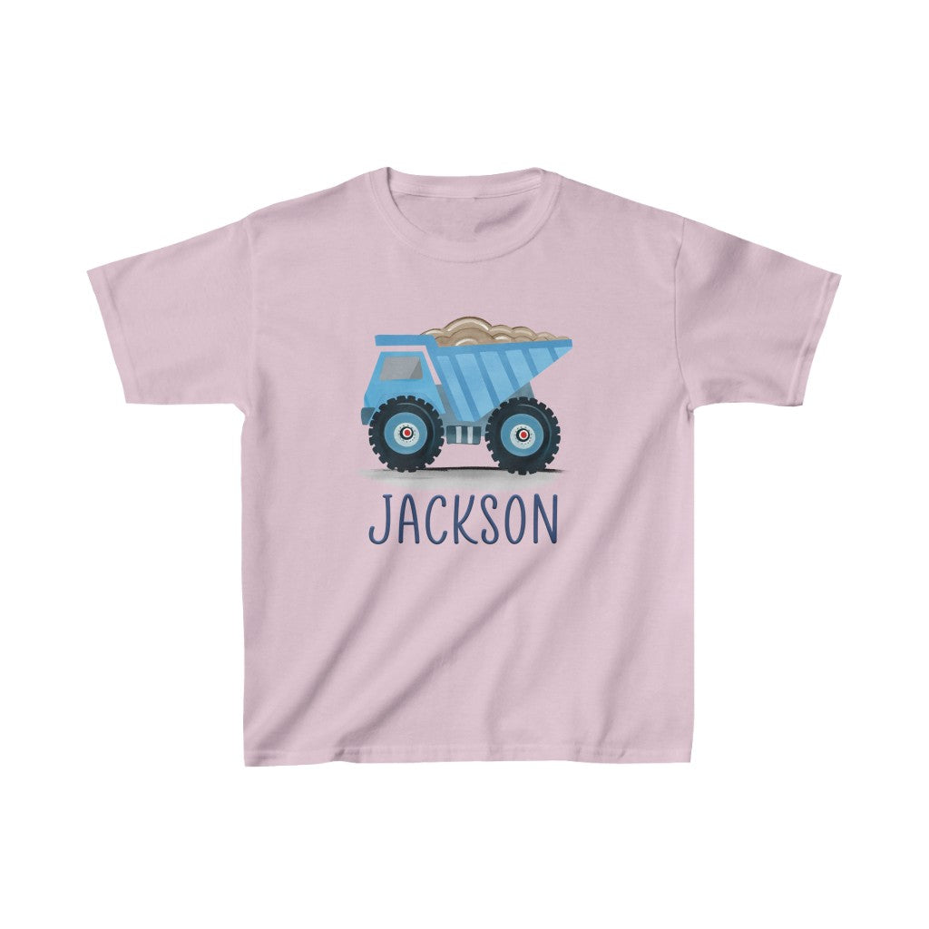 Custom Name Construction Truck Kids Heavy Cotton Tee III