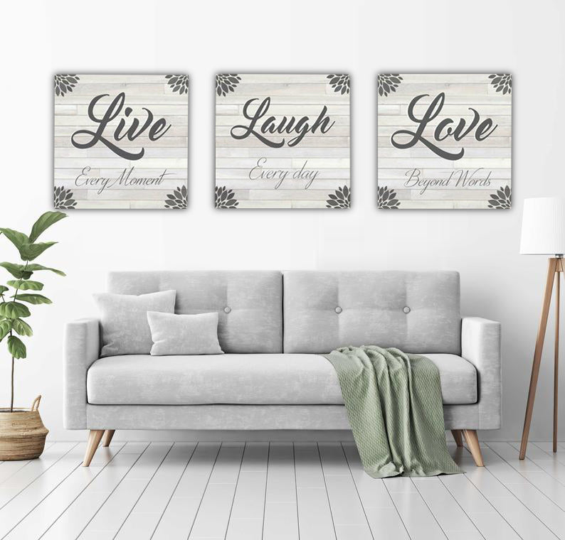 Live Laugh Love Canvas Art Set - BUY 2 SAVE 10%