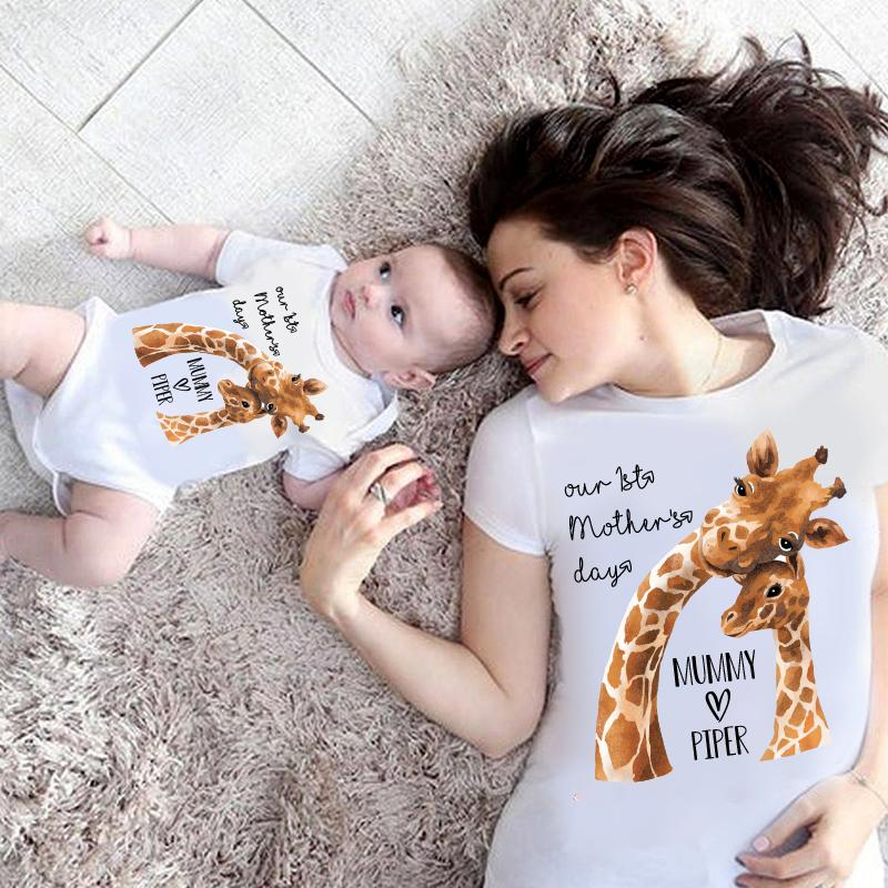 Custom Giraffe Mother's Day Baby Onesies and Matching Mom Shirts