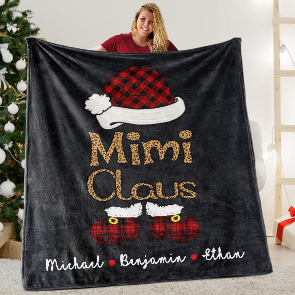 Custom Title Christmas Claus Blanket with Grandkids' Names II
