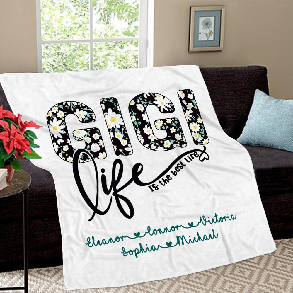 Personalized Daisy Fleece Blankets with Your Nick & Kids' Names II