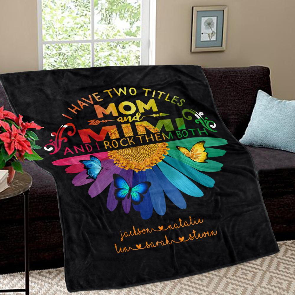 Personalized Daisy Fleece Blankets with Your Nick & Kids' Names