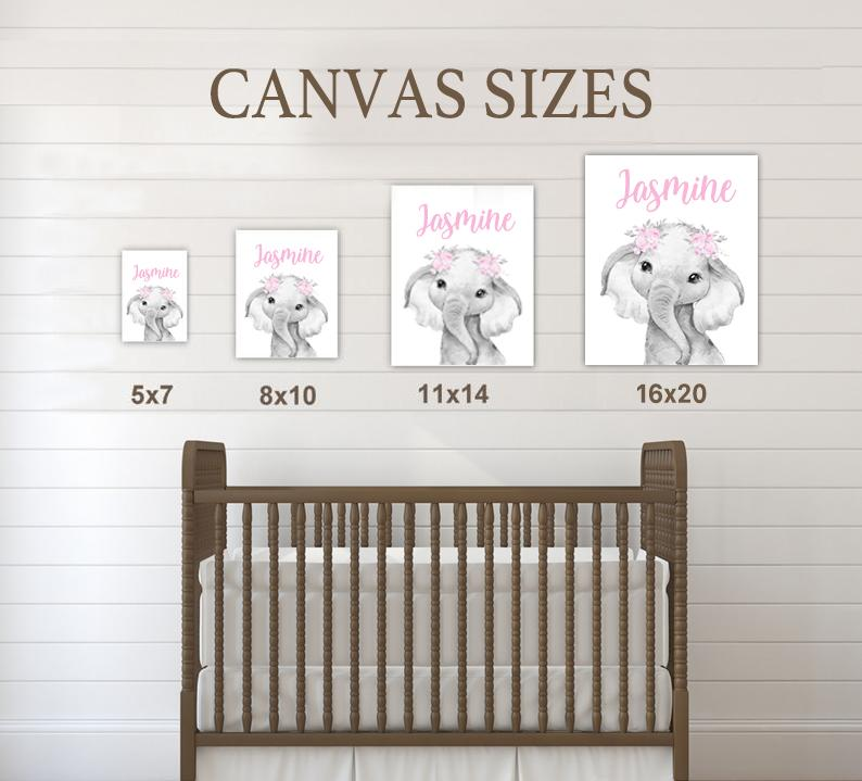 Personalized Name Baby Elephant Wall Art, Baby Girl Nursery Wall Art, 3 Piece Set Canvas Print