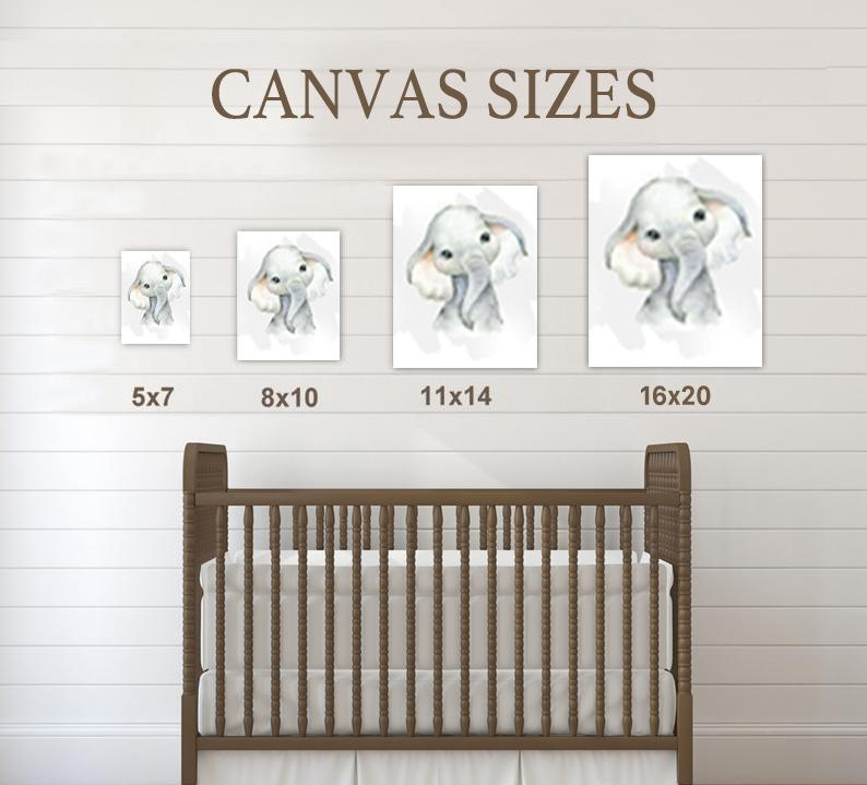 Personalized Name Baby Elephant Wall Art, Baby Boy Nursery Wall Art, 3 Piece Set Canvas Print