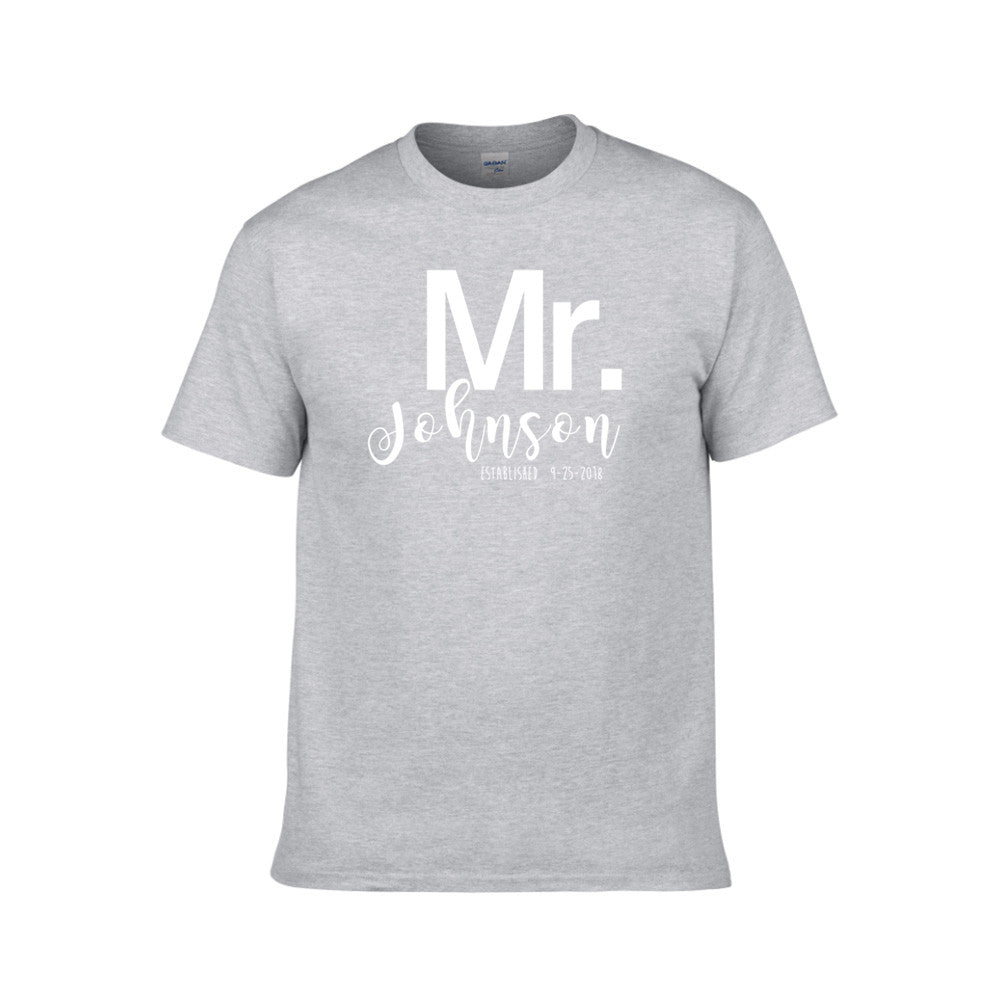 Mr/Mrs. Last Name And Date—Couple TShirts